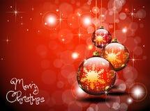 Trois billes rouges d'or de Noël Images stock