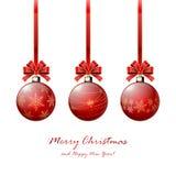 Trois billes rouges de Noël Images stock