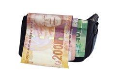 Trois billets de banque sud-africains dans le portefeuille Image stock