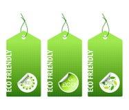 Trois bio étiquettes vertes Photographie stock libre de droits