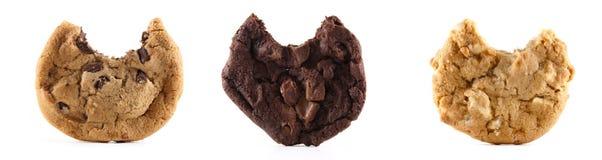 Trois biscuits avec des dégagements sur le fond d'isolement Photo stock