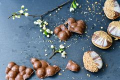Trois biscuits de chocolat Photos stock