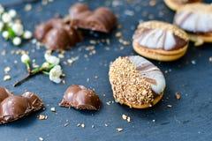 Trois biscuits de chocolat Photos libres de droits