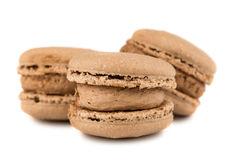 Trois biscuits français bruns de macaron Photographie stock libre de droits