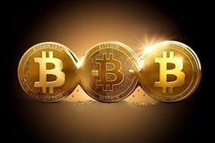 Trois Bitcoins différent en raison des fourchettes dures Bitcoin coupant en différentes devises Photographie stock