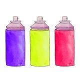Trois boîtes colorées d'aérosol Boîtes de peinture de jet Peinture BO de graffiti Photographie stock