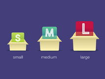 Trois boîtes en carton avec différentes offres grandes, moyen, petit, illustration Photos stock