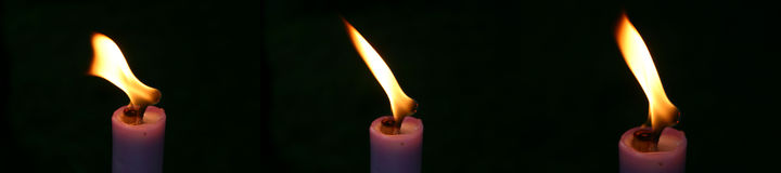 Trois bougies Photographie stock