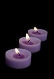 Trois bougies Photo stock