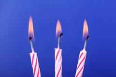 Trois bougies d'anniversaire Image libre de droits