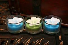 Trois bougies dans une ligne Image libre de droits