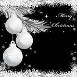 Trois boules argentées de Noël Photographie stock libre de droits