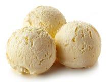 Trois boules de glace à la vanille images libres de droits