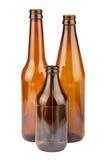 Trois bouteilles brunes vides photos stock