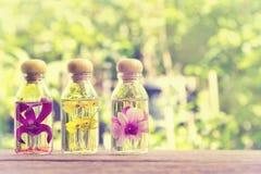 Trois bouteilles d'essences de fines herbes avec l'orchidée de beauté sur la nature b Photographie stock
