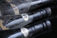 Trois bouteilles de vin de Murfatlar très vieilles Photo stock