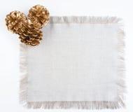 Trois cônes d'or de pins sur le tissu de toile Photographie stock