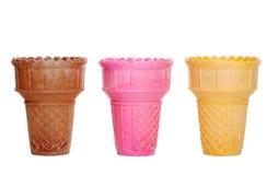 Trois cônes de crême glacée Photo libre de droits