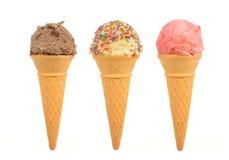 Trois cônes de crême glacée Images libres de droits