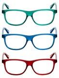 Trois cadres colorés de lunettes de soleil ou en verre d'oeil Images stock