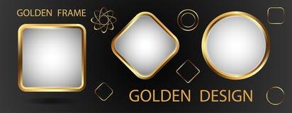 Trois cadres d'or avec un fond blanc et des éléments d'or FO Photographie stock