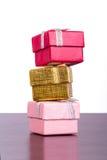 Trois cadres de cadeau colorés Photographie stock libre de droits