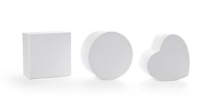 Trois cadres de cadeau de carton avec le chemin de découpage Image stock
