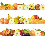 Trois cadres de conception de fruit d'isolement sur le blanc. Photo stock
