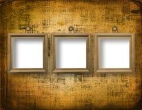 Trois cadres en bois pour l'art du portrait Photos libres de droits