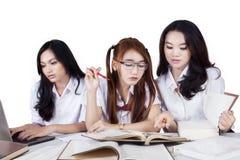 Trois camarades de classe féminins étudiant ensemble Photos stock