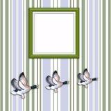 Trois canards volants avec le cadre de tableau blanc Images libres de droits