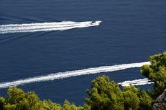 Trois canots automobiles contre une mer bleue et des arbres Image stock