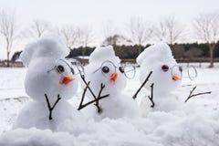 Trois caractères mignons de bonhomme de neige avec des Mohicans Image stock