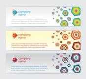 Trois cartes d'invitation avec l'hexagone sur le fond Photographie stock