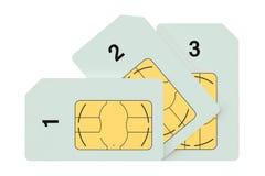 Trois cartes de sim Photographie stock libre de droits