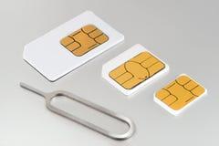 Trois cartes de sim Photos libres de droits