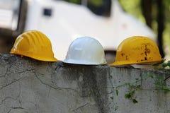 Trois casques de couleur Images libres de droits