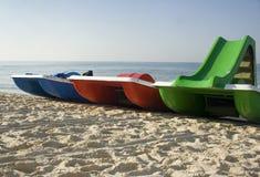 Trois catamarans sur la plage Images libres de droits