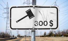 Trois cents dollars affinent le signe Images stock