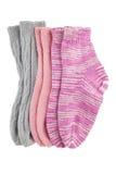 Trois chaussettes de laine de paires d'isolement Photos libres de droits