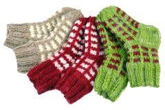Trois chaussettes de paires Photo stock