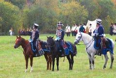 Trois chevaux de différentes couleurs - brun, noirs et blancs Photos libres de droits