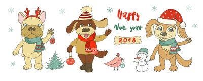 Trois chiens mignons, bonhomme de neige et oiseau Images libres de droits