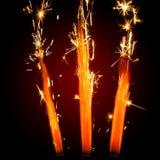 Trois cierges magiques de feu d'artifice Image libre de droits