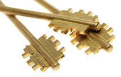 Trois clés d'or Photographie stock