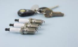 Trois clés de bougies à l'arrière-plan Image stock