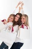 Trois clients heureux Images libres de droits