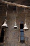 Trois cloches de monastère Vardzia de caverne Photo stock