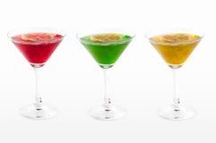 Trois cocktails glacés colorés Photo stock