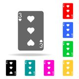Trois coeurs Cardez l'icône de costume, jouant l'icône de symboles de cartes Éléments dans les icônes colorées multi pour les app illustration stock